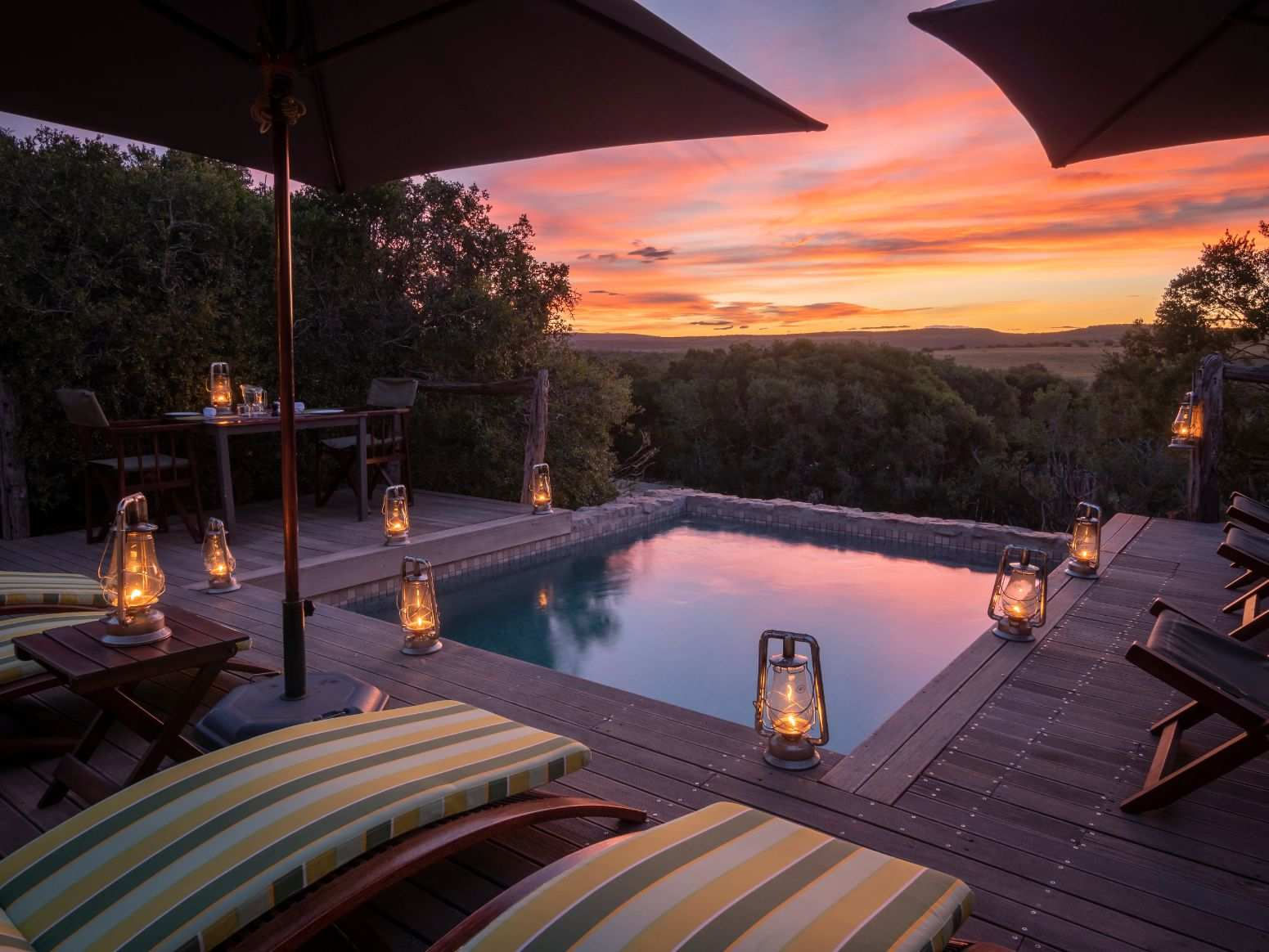 Amakhala Game Reserve Hillsnek Safari Camp Pool At Dusk