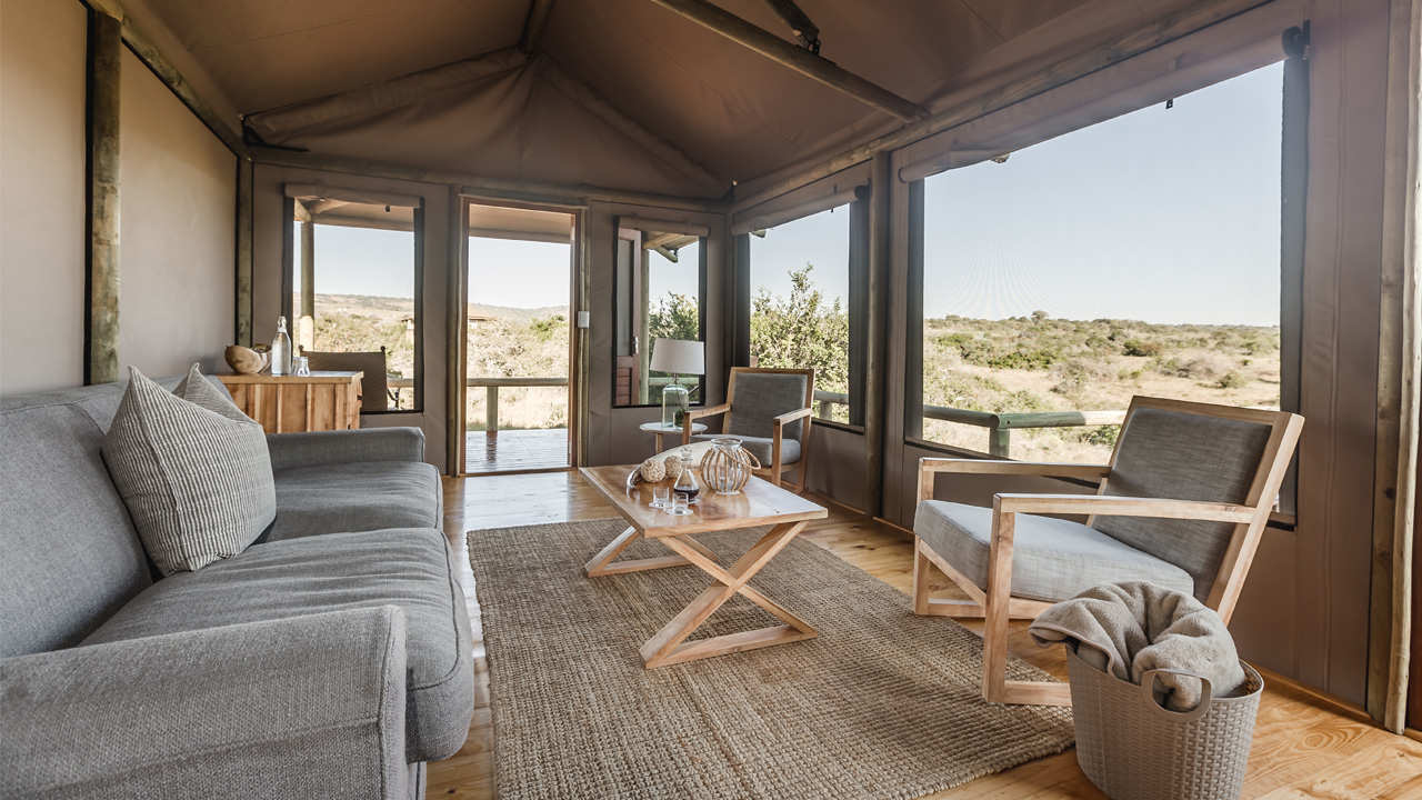 Hlosi Game Lodge Amakhala Safari Tent Lounge